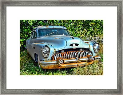 Vintage American Car In Yard Framed Print by Olivier Le Queinec