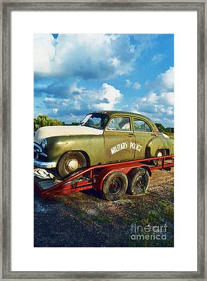 Vintage American Military Police Car Framed Print by Kathy Fornal
