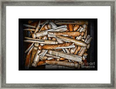 Vintage And Old Fashion Clothespins Framed Print by Paul Ward