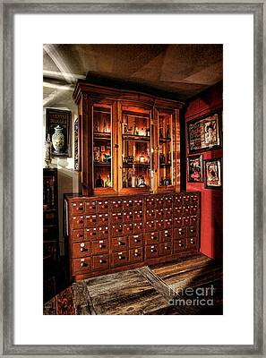 Vintage Apothecary Case Framed Print by Olivier Le Queinec
