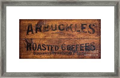 Vintage Arbuckles Roasted Coffee Sign Framed Print by John Stephens