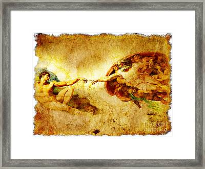 Vintage Art - The Creation Of Adam Framed Print by Stefano Senise