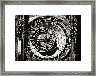 Vintage Astronomical Clock Framed Print by John Rizzuto