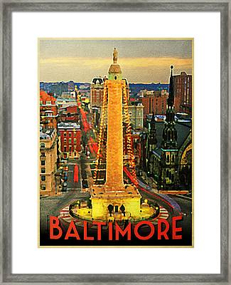 Vintage Baltimore At Dusk Framed Print by Flo Karp