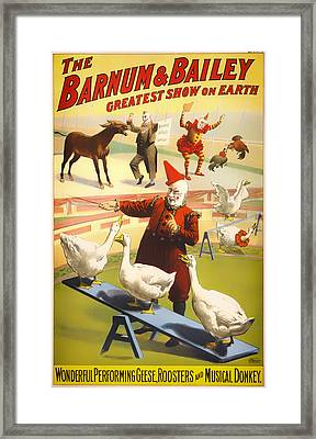 Vintage Barnum And Bailey Poster - 1900 Framed Print by Mountain Dreams