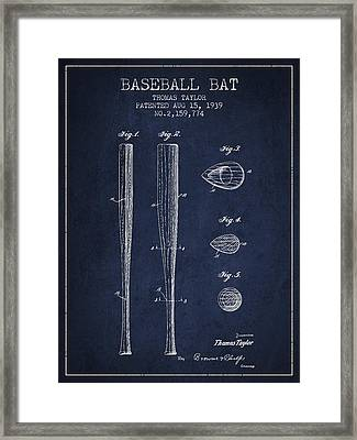 Vintage Baseball Bat Patent From 1939 Framed Print by Aged Pixel