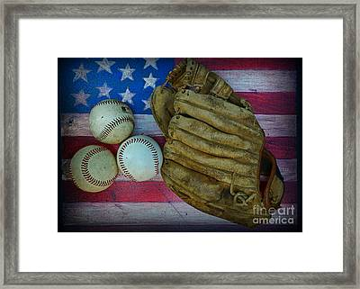 Vintage Baseball Glove And Baseballs On American Flag Framed Print by Paul Ward