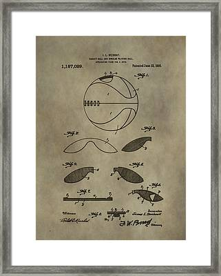 Vintage Basketball Patent Framed Print by Dan Sproul