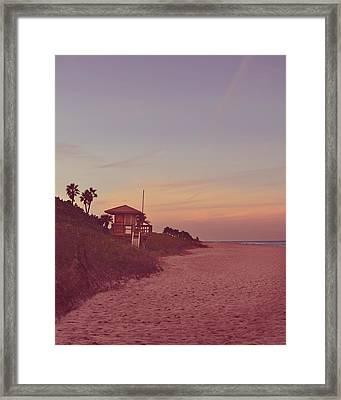 Vintage Beach Hut Framed Print by Laura Fasulo