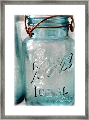 Vintage Blue Aqua Ball Jars - Mason Jars Ball Jars Photography - Shabby Chic Ball Jar With Hearts Framed Print by Kathy Fornal