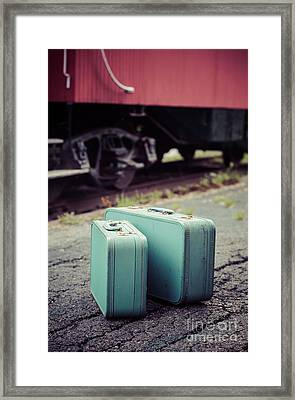 Vintage Blue Suitcases With Red Caboose Framed Print by Edward Fielding