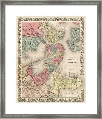 Vintage Boston Map 2 Framed Print by Joann Vitali