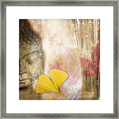 Vintage Buddha And Ginkgo Framed Print by Delphimages Photo Creations