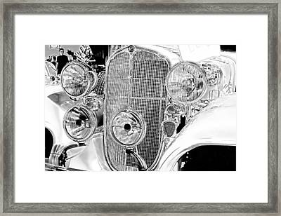 Vintage Buick Grill Black And White Framed Print by Lesa Fine