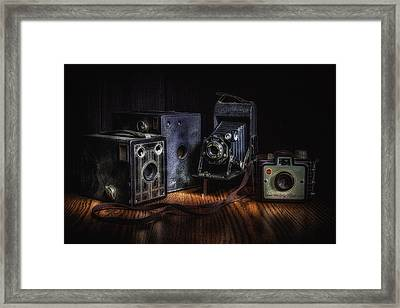 Vintage Cameras Still Life Framed Print by Tom Mc Nemar