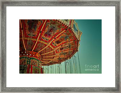 Vintage Carousel At The Octoberfest In Munich Framed Print by Sabine Jacobs