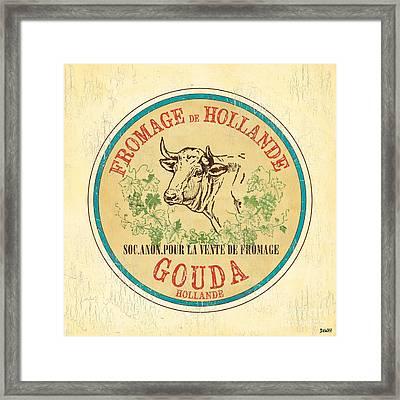 Vintage Cheese Label 1 Framed Print by Debbie DeWitt