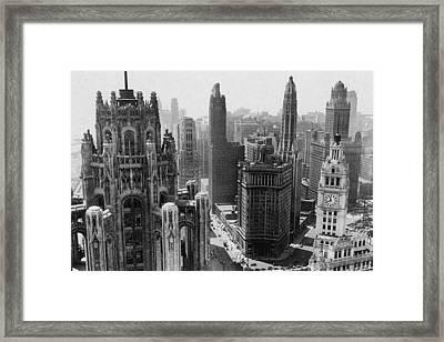 Vintage Chicago Skyline Framed Print by Horsch Gallery