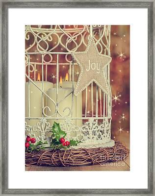 Vintage Christmas Candles Framed Print by Amanda Elwell