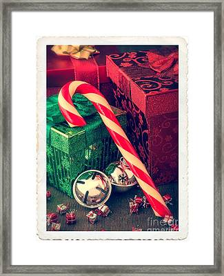 Vintage Christmas Candy Cane Framed Print by Edward Fielding