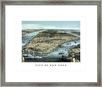 Vintage City Of New York Framed Print by War Is Hell Store