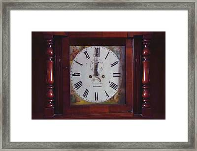 Vintage Clock Wallclock Swiss Time Period Minute Second Hour Calculate Border Frame Wooden Case Wood Framed Print by Navin Joshi