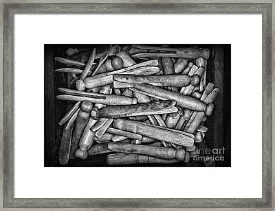 Vintage Clothepins In Box Framed Print by Paul Ward