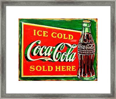 Vintage Coca-cola Sign Framed Print by Karl Wagner