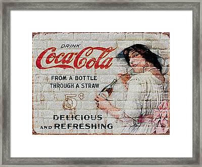 Vintage Coke Sign Framed Print by Jack Zulli