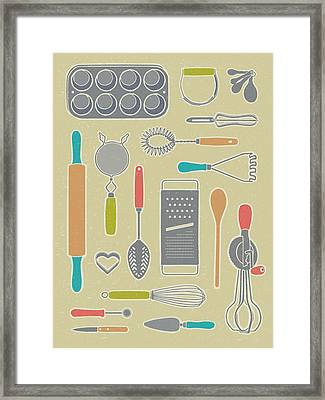Vintage Cooking Utensils Framed Print by Mitch Frey