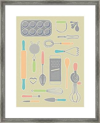 Vintage Cooking Utensils With Pastel Colors Framed Print by Mitch Frey