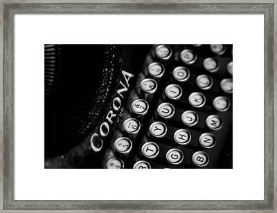 Vintage Corona Four Typewriter Framed Print by Jon Woodhams