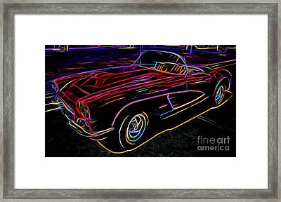 Vintage Corvette - Classic Car - Neon  Framed Print by Gary Whitton