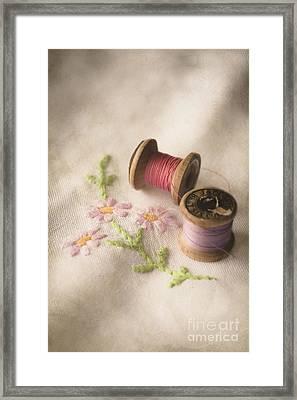Vintage Cotton Reels Framed Print by Jan Bickerton