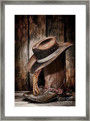 Vintage Cowboy Boots Framed Print by Olivier Le Queinec