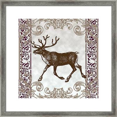 Vintage Deer Artowrk Framed Print by Art World