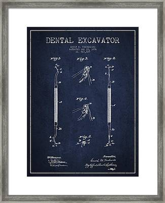 Vintage Dental Excavator Patent Drawing From 1896 - Navy Blue Framed Print by Aged Pixel