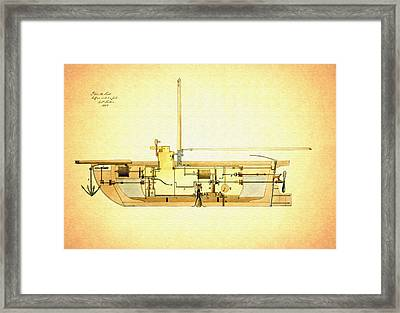Vintage Design For A Submarine - 1806 Framed Print by Mountain Dreams