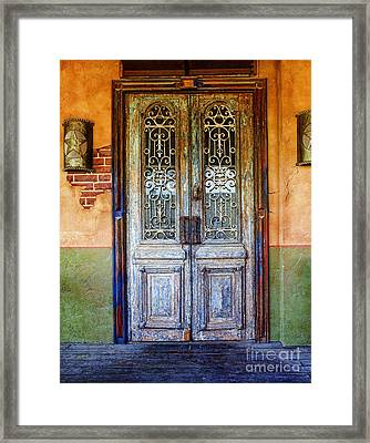 vintage door in Hico TX Framed Print by Elena Nosyreva