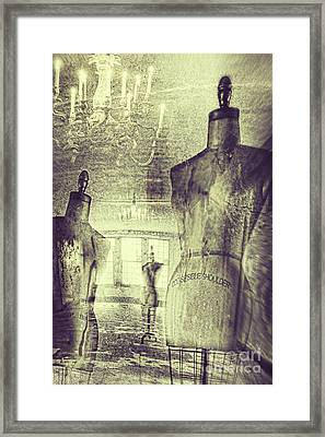 Vintage Dressforms With Abstract Grunge Background Framed Print by Sandra Cunningham