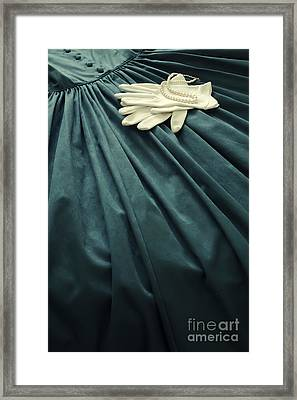 Vintage Emerald Green Dress With White Gloves And Pearls Framed Print by Wendy Stevenson