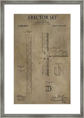 Vintage Erector Set Patent Framed Print by Dan Sproul