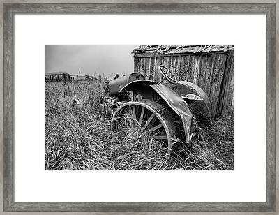 Vintage Farm Tractor Framed Print by Theresa Tahara
