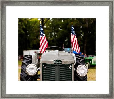 Vintage Ferguson Tractor With American Flags Framed Print by Jon Woodhams