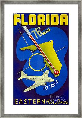Vintage Florida Travel Poster Framed Print by Jon Neidert