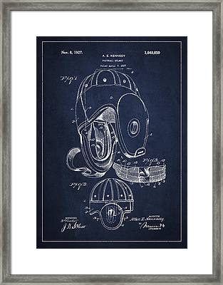 Vintage Football Helment Patent Drawing From 1927 Framed Print by Aged Pixel