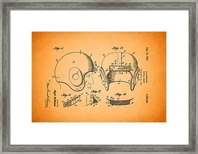 Vintage Football Helmet Patent 1956 Framed Print by Mountain Dreams