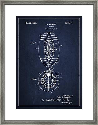 Vintage Football Patent Drawing From 1923 Framed Print by Aged Pixel