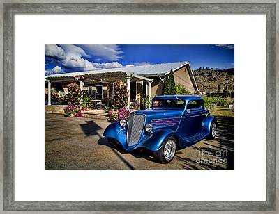 Vintage Ford Coupe At Oliver Twist Winery Framed Print by David Smith