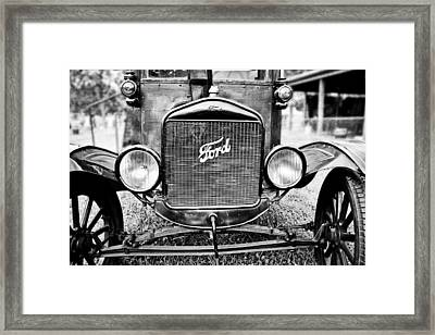 Vintage Ford In Black And White Framed Print by Colleen Kammerer